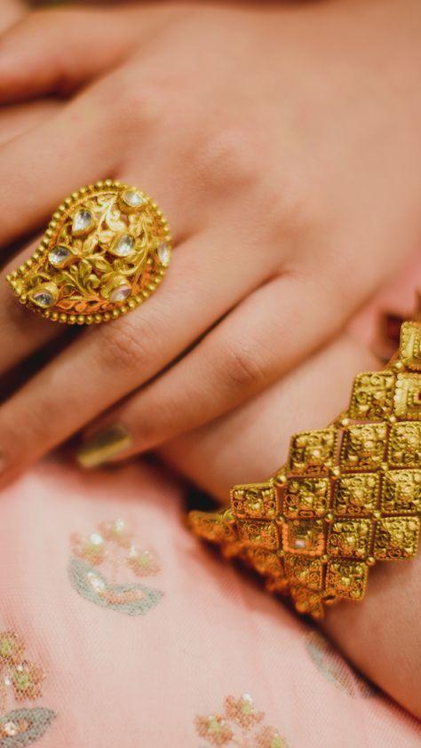 3565588eda43f Bride in Azva gold statement ring for her WeddingSutra makeover ...