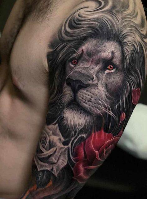 Amazing Lion Tattoo on Arm - Best Lion Tattoos For Men: Cool Lion Tattoo Designs. - Cool Tattoos For Men -