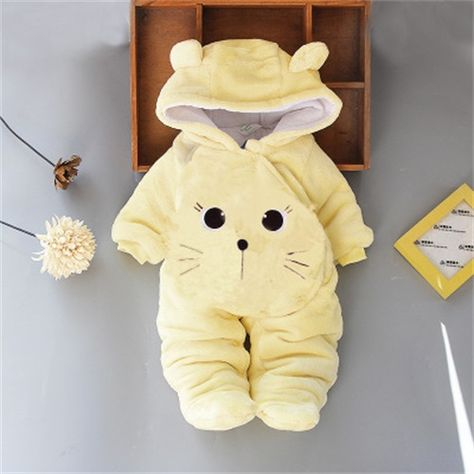 Warm Animal Design Fleece Hooded Footed Jumpsuit for Baby Boy / Girl