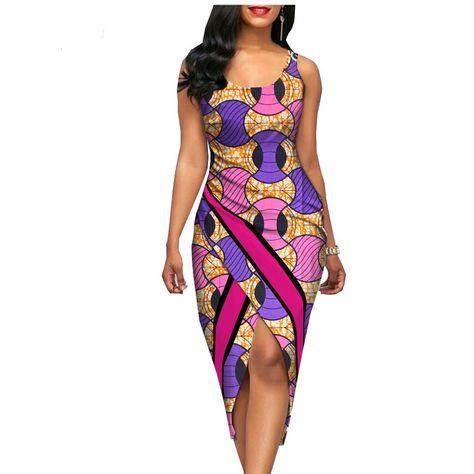Summer sexy Africa print sleeveless o-neck mid-calf length women cotton dress