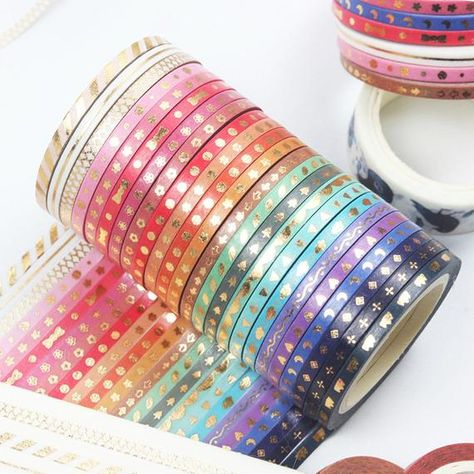 Stationary Supplies, Stationary School, Cute Stationary, Gold Washi Tape, Masking Tape, Cool School Supplies, Study Room Decor, Stationery Store, Tape Crafts