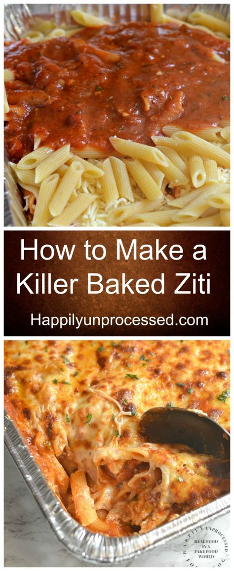 How to Make a Killer Baked Ziti - Happily UnprocessedYou can find Main dishes and more on our website.How to Make a Killer Baked Ziti - Happily Unprocessed Healthy Recipes, Vegetarian Recipes, Cooking Recipes, Baked Ziti Vegetarian, Healthy Food, Grilling Recipes, Cooking Ideas, Food Recipes For Kids, Best Food Recipes