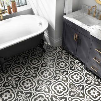 Shop Bathroom Tile Trends Like Encaustic Tile Ceramic Tile And More Bathroom Floor Tiles Bathroom Floor Wallpaper Black Bathroom