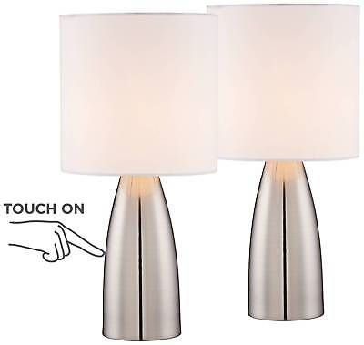 Lamps 112581 Modern Table Lamps Set Of 2 Touch Switch Silver White For Living Room Bedroom Buy It Now Only Table Lamp Touch Table Lamps Modern Table Lamp
