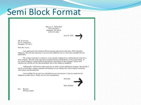 Business Letter Formats Example Application Modified Block Style