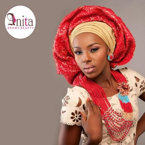 Nigerian wedding champagne and red sequin aso-oke by Molbaks makeup by Anita brows beauty, beads by Gee Balo photo by Tap studios
