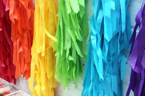 DIY Rainbow Fringe Backdrop-- Rainbow party decorating ideas