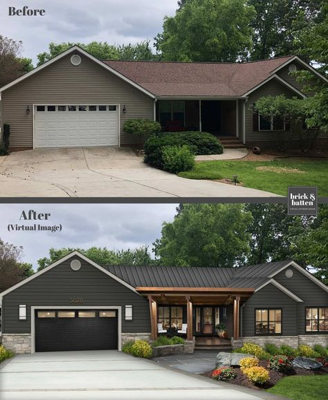 Home Exterior Makeover, Exterior Remodel, Ranch Exterior, Exterior House Colors, Exterior Design, Exterior Paint Ideas, Craftsman Exterior Colors, House Paint Exterior, Modern Exterior