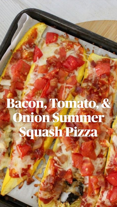 Bacon, Tomato, & Onion Summer Squash Pizza