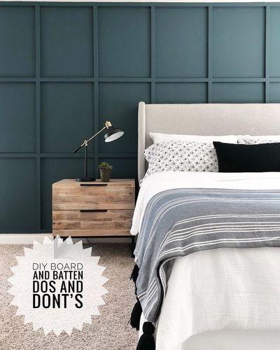 Accent Wall Bedroom, Bedroom Decor, Accent Walls, White Bedroom Walls, Bedroom Ideas, Home Design, Panel Mdf, Attic Master Bedroom, Diy Headboards