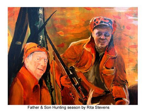 A moment captured of a father and son, at any age we still need our fathers. Remember time is precious. I painted this one to honor the mans bond with his father. Painted by Rita Stevens