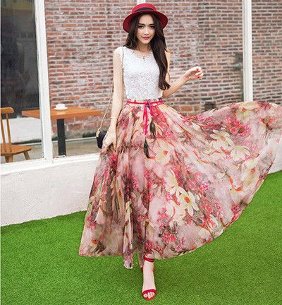 3169751139b New Fashion Elastic Waist Casual Chiffon Skirt Summer Bohemian Floral Print  Beach Maxi Flower Long Skirt For Women