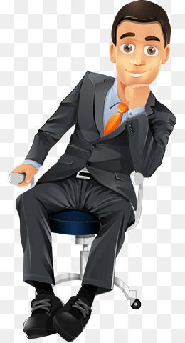 Hand Painted Cartoon Business Man Sitting On A Chair Cartoon Characters Business Man Painted Plane Creative People Png A People Png Girl Cartoon Man Sitting