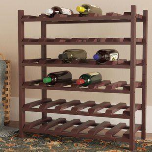 Red Barrel Studio Karnes Pine 64 Bottle Floor Wine Rack Wayfair