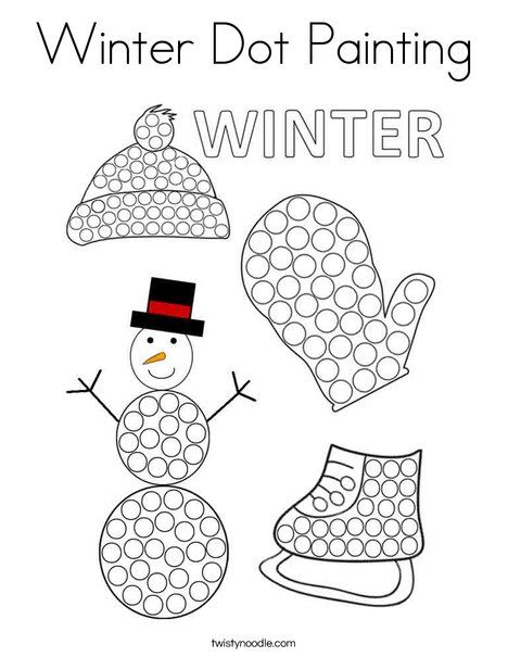 Winter Dot Painting Coloring Page - Twisty Noodle  Dot painting