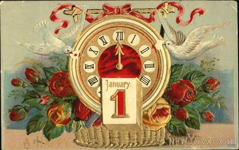 1912 , clock with roses and doves