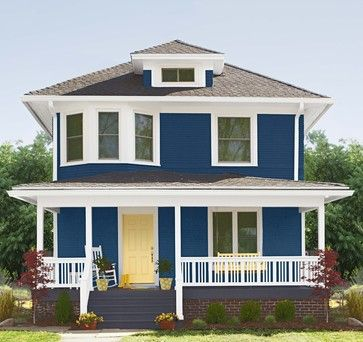 a classic combination of navy blue and warm white trim maximizes the curb appeal of this two story charmer sunny yellow on the front door and porc - Blue House Design