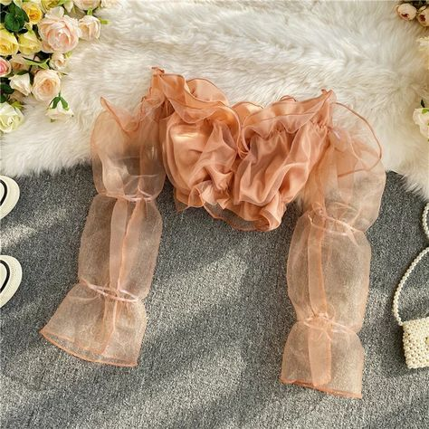 18.05US $ |Neploe 2020 Autumn Women Shirt Puff Long Sleeve Sexy Strapless Slash Neck Blouses Korean Short Crop Top Chiffon Blusas 4E265|Blouses & Shirts|   - AliExpress