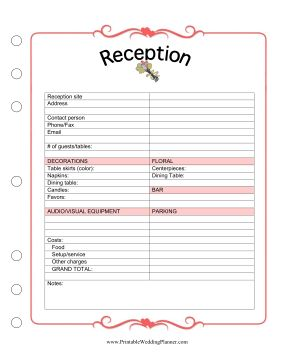 wedding reception planning checklist - Ideal.vistalist.co