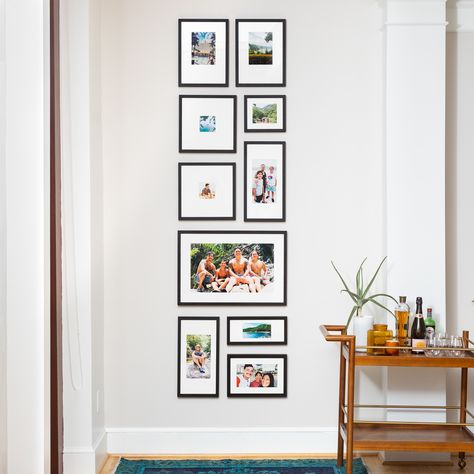 We make shopping for Gallery Walls ridiculously easy. Simply choose your favorite gallery wall layout & style, then upload your photos and checkout! Gallery Wall Layout, Photo Wall Layout, Photo Gallery Walls, Travel Gallery Wall, Frame Gallery, Frame Layout, Photo Wall Collage, Frames On Wall, Ten Frames