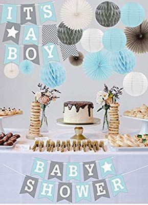 Amazon Com Rainmeadow Premium Baby Shower Decorations For Boys Kit It S A Boy Garla Baby Shower Balloons Boy Baby Shower Balloons Elephant Baby Shower Boy