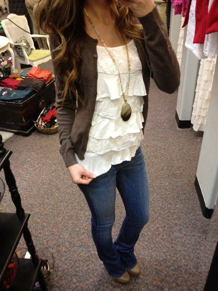 Ruffle Tank= texture, jeans and a simple cardigan. Great fall outfit. I have a ruffle tank like this- will try to remember to wear it this way !!