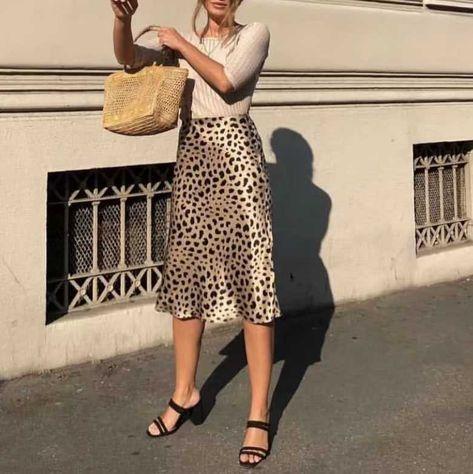 Retro Elastic Band High Waisted Leopard Print Satin Midi Skirt