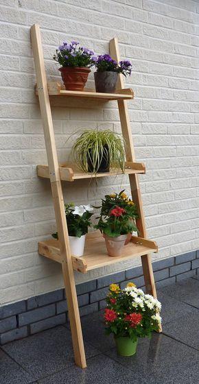Holz Blumentreppe Promadino Kirsten Blumenleiter Dekoregal Holz Angebot Blumentreppe Blumenleiter Pflanzenstander