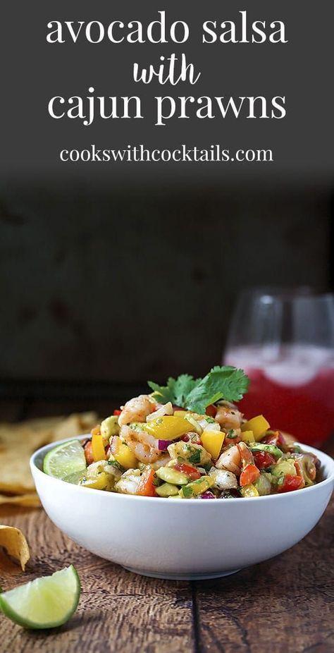 Avocado Salsa with Cajun Prawns