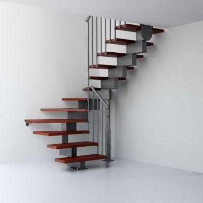 Escalier En U Metal Et Bois Magia 90 L 70 Cm 14 Marches Gris Fonte