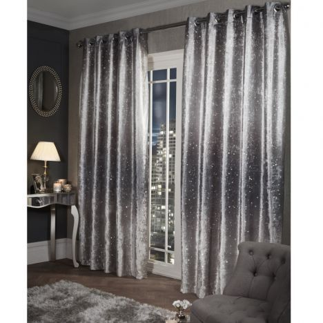 Glitter Crushed Velvet Fully Lined Ring Top Curtains Silver Grey Living Room Decor Gray Silver Living Room Black And Silver Bedroom