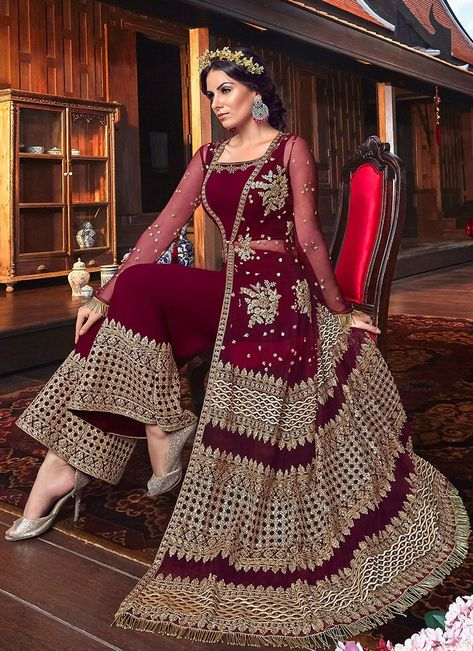 Latest indian party wear Palazzo Suit salwar kameez for women. Shop online in india, uk, usa, canada. Grab this net embroidered, lace and resham work designer palazzo suit.