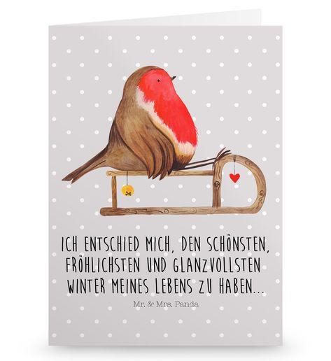 Grußkarte Rotkehlchen Schlitten aus Karton 300 Gramm  weiß - Das Original von Mr. & Mrs. Panda.  Die wunderschöne Grußkarte von Mr. & Mrs. Panda im Format Din Hochkant ist auf einem sehr hochwertigem Karton gedruckt. Der leichte Glanz der Klappkarte macht das Produkt sehr edel. Die Innenseite lässt sich mit deiner eigenen Botschaft beschriften.    Über unser Motiv Rotkehlchen Schlitten  Die Winter Kollektion ist wirklich eine ganz besonders niedliche Kollektion von Mr. & Mrs. Panda. Natürlich