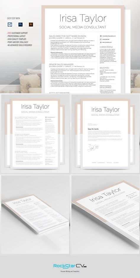 CLEAN RESUME - Vol1 by shaker sign creative on @creativemarket L - social media consultant sample resume