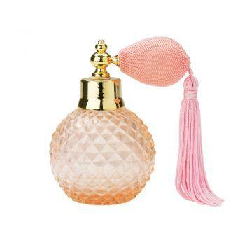Lisbeth Dahl Nostalgischer Parfümzerstäuber Glas mit Quaste rosa