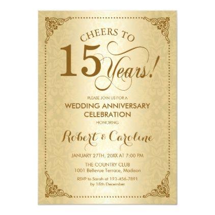 15th Wedding Anniversary Gold Damask Invitation Zazzle Com