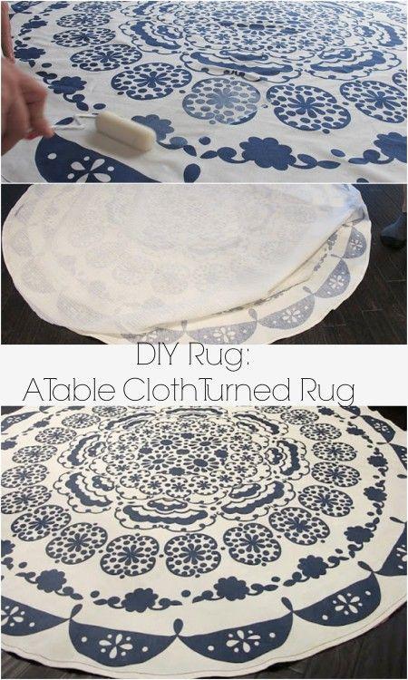 DIY rug: table cloth turned rug