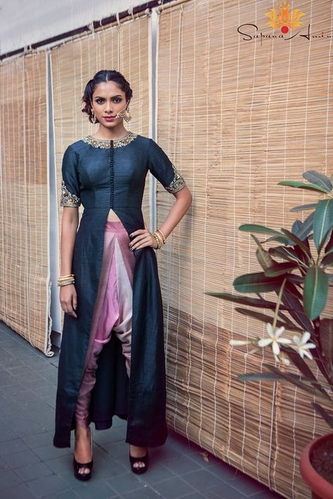 Long black jacket in raw silk with shaded dupion silk dhoti pants