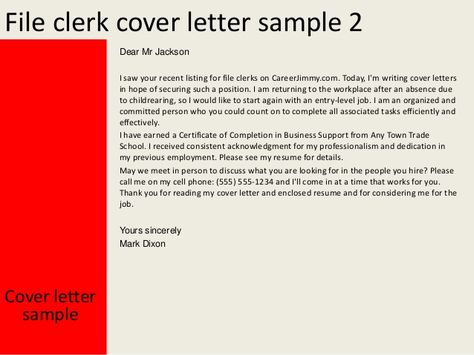 cover letter for entry level office clerk uncategorized law - File Clerk Cover Letter