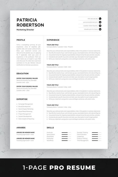 Professional 1 Page Resume Template Modern One Page Cv Word Mac Pages Minimalist Design Developer Designer Marketing Patricia In 2021 One Page Resume Template Resume Template Professional One Page Resume