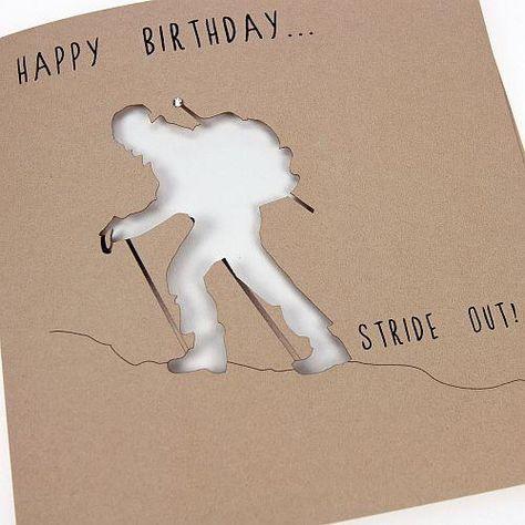 Handmade Laser Cut Mountain Climbing Birthday Card