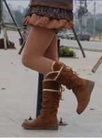 Button Embellished Lace-up Flat Long Boots Yellow