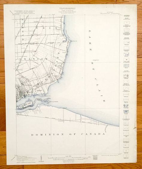 Grosse Point Michigan Map.Antique Grosse Pointe Michigan 1905 Us Geological Survey