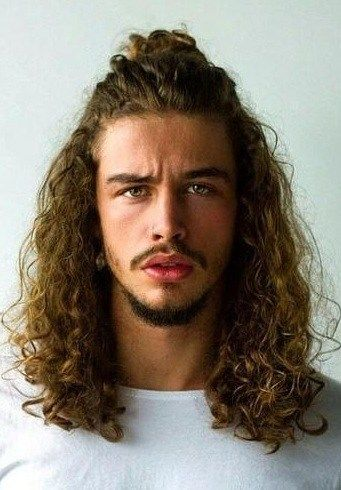 Half Up Ponytail For Curly Long Hair Mens Hairstyles Long Hair Styles Men Long Hair Styles
