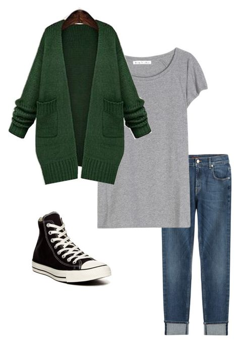 """Capsule wardrobe outfit 1"" by megganb1983 on Polyvore featuring 7 For All Mankind, Acne Studios, Jiuni and Converse"