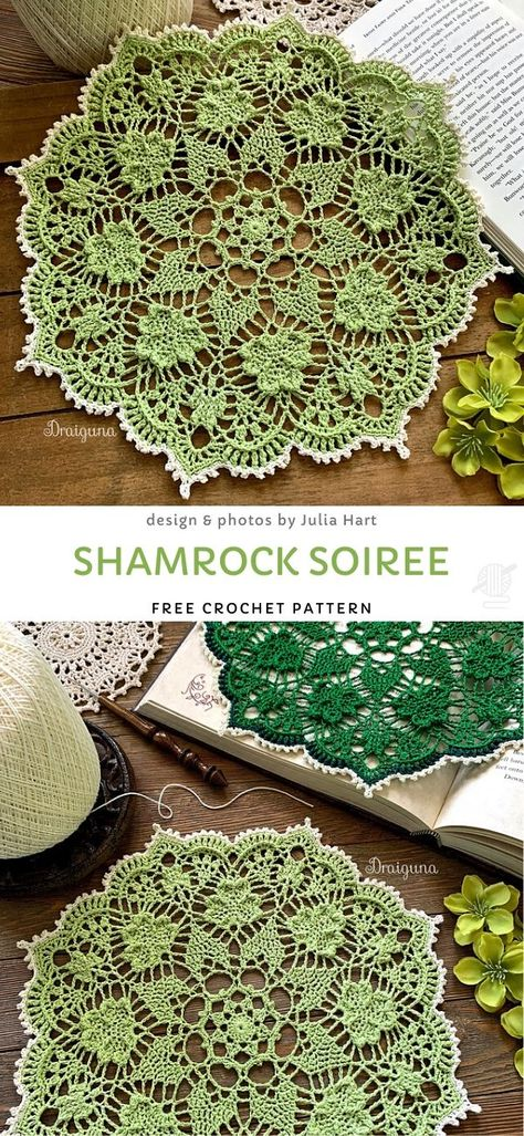 This Shamrock Doily Free Crochet Pattern will bring a bit of elegance to your table this St. It could also be a beautiful heirloom or gift. Free Crochet Doily Patterns, Crochet Motifs, Thread Crochet, Filet Crochet, Crochet Doilies, Crochet Stitches, Knit Crochet, Free Pattern, Crochet Doily Diagram