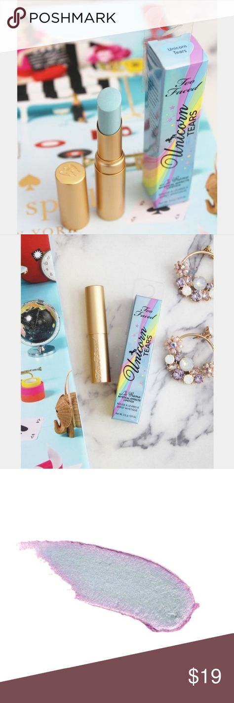 NWB UNICORN TEARS MYSTICAL EFFECT LIPSTICK Brand new with box. Net weight: 3.2g/0.11oz Indulge lips with mystical creamy color that changes with your body chemistry. Infused with White Lotus Flower Extract for soothing hydration NP#O0025 Too Faced Makeup Lip Balm & Gloss
