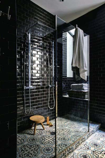 Top 60 Best Black Bathroom Ideas Dark Interior Designs Black Tile Bathrooms Bathroom Inspiration Bathroom Interior