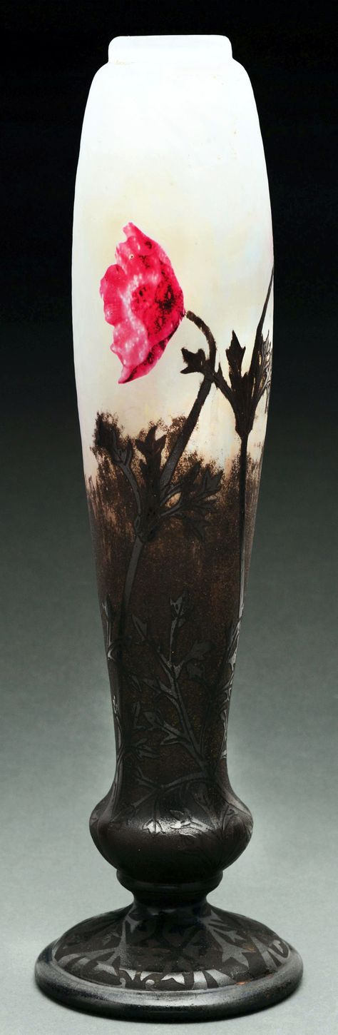 Still Magnolias Decorative Hand Painted Stained Glass Vase