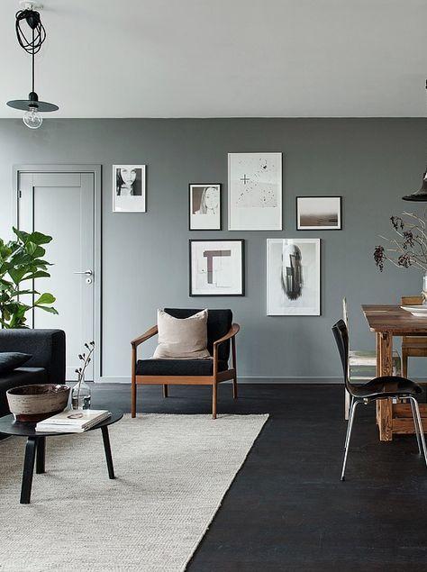 Black Floors Grey Walls And Lots Of Art Pieces Interieur